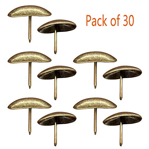 Whale GoGo Thickened Oval Shape Iron Upholstery Tacks Decorative Door Sofa Furniture Nails Pins Pack of 30 by Whale GoGo