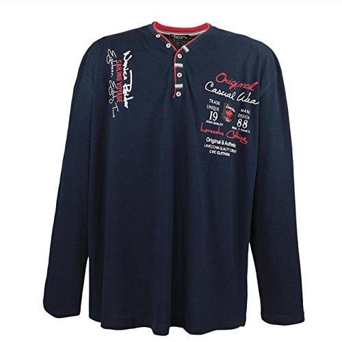 """Herren langarm Shirt """"1988"""" von Lavecchia aus reiner Baumwolle in Übergröße blau"""