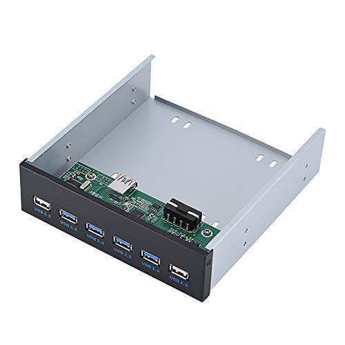 ASHATA USB Front Panel, USB 3.0 Hub,19 pin to 6 Interface (4 USB3.0 + 2 USB2.0) Metal Front Panel USB Hub by ASHATA