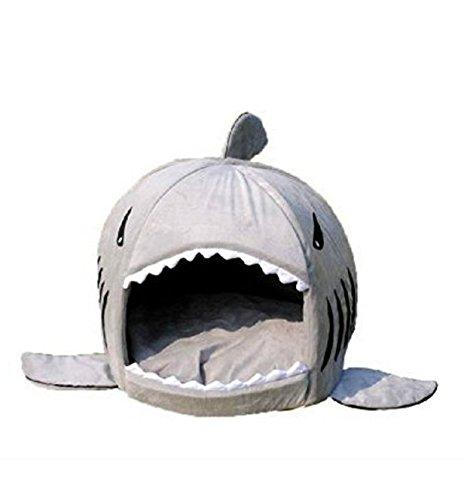 honeysuck extraíble Tiburón cama para cama de pequeño perro de mascota Cachorro cojín (gris)