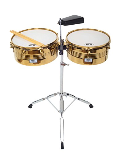 AM Percussion LIBRE GX2 Timbale Set GOLD CHROME with Cowbell, Durable Double Braced Stand and Drum Sticks by AM Percussion