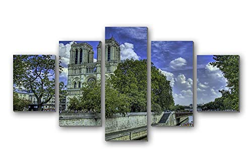 """Price comparison product image GLITZFAS PRINTS 5 Panel Wall Art Painting - River Building Walk Promenade Trees shipr - Canvas Stretched with Wooden Frame for Home Decor (8""""x12""""x2+8""""x16""""x2+8""""x20""""x1)"""