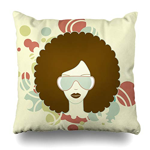 Ahawoso Throw Pillow Cover Grunge Music Afro Vintage Soul Hair Funk Design Hop Decorative Cushion Case 16x16 Inches Square Home Decor Pillowcase (Hop Coral Cape The)