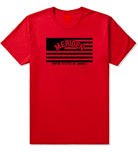 City Of Meriden with United States Flag T-Shirt Large Red -
