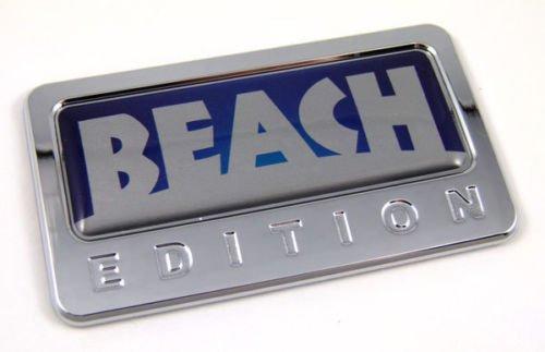 Car Chrome Decals CBEDI-BEACH Beach custom Edition Chrome Emblem with domed decal c/w adhesive Car Auto Badge
