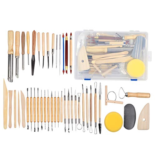 - Falling in Art 45pcs Clay Sculpting Tool Kit, Pottery Ceramic Tool Set with Plastic Box