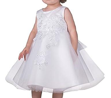 Boutique-Magique Robe de baptême bébé Fille Blanche avec Tulle et Strass 45e0497213e