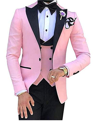 (Botong Men's 3 PC Pink Notch Lapel Wedding Suits Slim Fit Groom Tuxedos Prom Suits Casual Suit Pink 36 Chest / 30 Waist )
