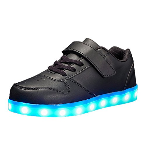 Maniamixx Kids LED Light up Shoes Flashing Shoes USB Charging Sneakers for Boys and Girls(Black,31)