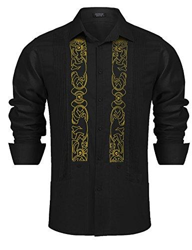 (Simbama Men's Long Sleeve Embroidered Guayabera Cuban Shirt Casual Button Down Shirt Black)