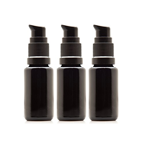Infinity Jars 15 Ml (.5 fl oz) Black Ultraviolet Glass Push Pump Bottle - 0.5 Ounce Pump