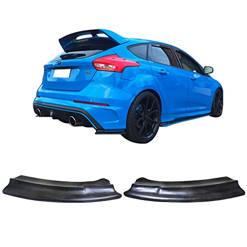 (Rear Valences Fits 2016-2017 Ford Focus RS | Black PU Spats Valance Apron Cap Moulding Pair Trim Bottom Line by IKON MOTORSPORTS)