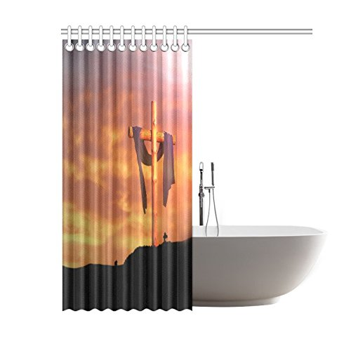 Christian Cross Waterproof Bathroom decor Fabric Shower Curtain Polyester 60 x 72 inches
