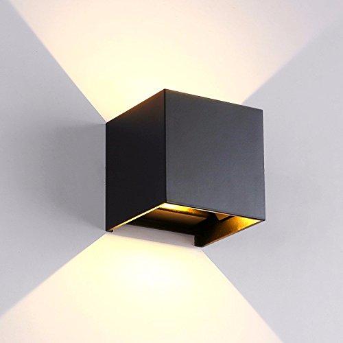 WDFHQ Minimaliste en aluminium moderne LED lumière réglable étanche extérieur square cour extérieure balcon chambre applique murale 100*100*100mm, carré noir [Classe énergétique A+++] WLLAMP