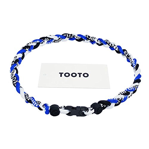 Braided Rope Necklace - TOOTO Sport Style Tornado Titanium Necklaces Three Colors Braided Rope Baseball Necklace-20 Length (Blue & White & Black)