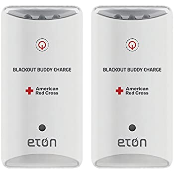 American Red Cross Blackout Buddy Charge Emergency LED Flashlight, Blackout Alert, Nightlight and Phone Charger Lights Up Automatically When There is a Power Failure, 2-Pack, RCBB300W-DBL