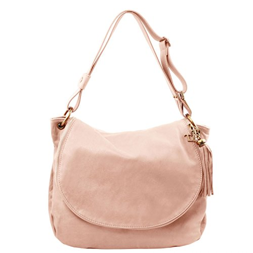 Tuscany Leather TL Bag Soft leather shoulder bag with tassel detail Nude by Tuscany Leather