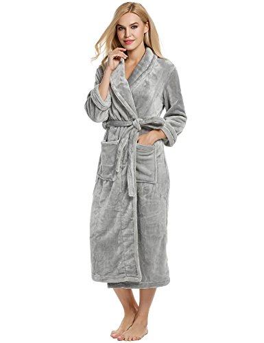 Ekouaer Sleepwear Women's Wrap Robe Microfleece Plus Size Bath Linens Lingerie (Gray,XL) -