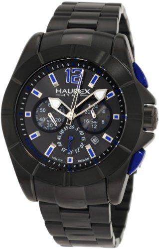 Haurex Italy Men's 0N366UNB Aston Chronograph Black Stainless Steel Watch - Aston Watch Steel Stainless
