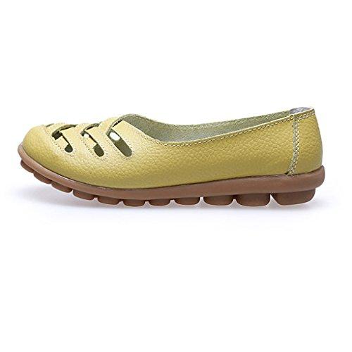 Oriskey Mocasines de cuero mujer Loafers Casual Zapatos Zapatillas Verde