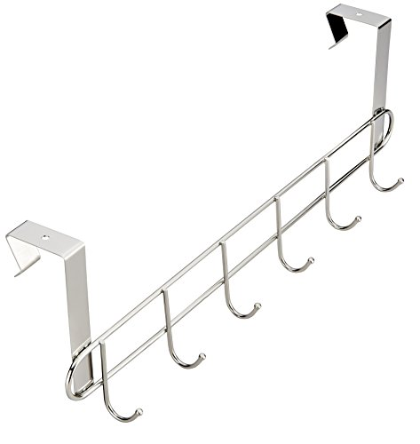 Large Product Image of Pro Chef Kitchen Tools Over The Door Hook - General Purpose Storage Racks - 6 Coat Hooks - No Drill Towel Rack For Bathroom Storage Closet - Behind The Door Organizer Clothes Rack - Key Broom Hanger