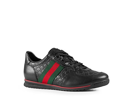Gucci Women's 'SL 73' Guccissima Leather with Web Detail Sneaker, Black 408354 (6 US/36 UK) Black Guccissima Leather