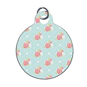 ROSE WALLPAPER FRENCH COUNTRY PATTERNS Custom Unique Image Dog Tag (one Side image) Ideal Gift for Pets