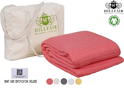HILLFAIR 100% Certified Organic Cotton Blankets- King Size Bed Blankets- All Season Cotton Blanket- Coral King Size Cotton Blanket- Soft Cozy Multipurpose King Blankets- Organic Cotton Bed Blankets