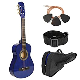 30″ Wood Guitar with Case and Accessories for Kids/Girls/Boys/Beginners (Blue)