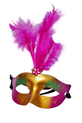 Sunshine Plastic Face Mask for Party with Feathers (Set of 12)