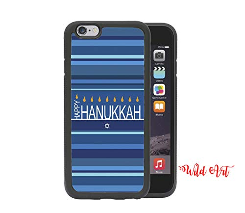 iPhone 6 CASE - Happy Hanukkah Stripes Blue Holidays iPhone 6, 4.7 Rubber TPU Silicone Phone Case