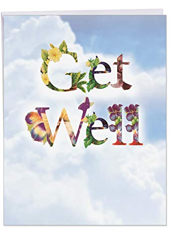 Bunches of Well Wishes' Big Get Well Card with Envelope 8.5 x 11 Inch - Flowers, Floral Font on Sky, Clouds Design Stationery Set for Personalized Message and Greeting for Quick Recovery J2359CGWG