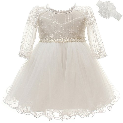 Coozy Baby Girls Dresses Christening Baptism Gowns Wedding Birthday Formal Dress (Ivory, 3M/0-6months) by Coozy