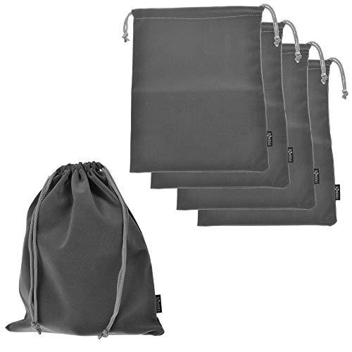 Cosmos ® Set of 5 Premium Gray Travel Carry Drawstring Headphones Pouch Bag (Gray Color)