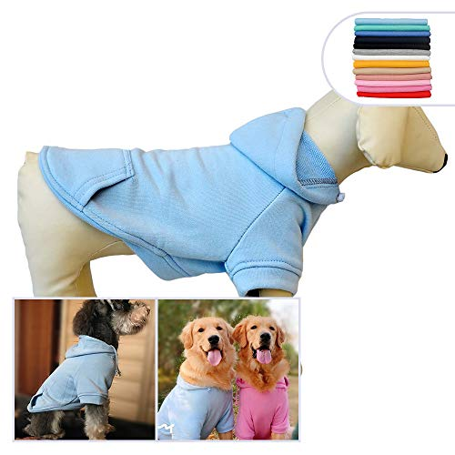 (Lovelonglong Pet Clothing Clothes Dog Coat Hoodies Winter Autumn Sweatshirt for Small Middle Large Size Dogs 11 Colors 100% Cotton 2018 New (L, Sky-Blue))