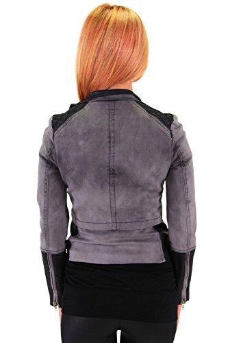 Trendige Jacke mit Kunstlederärmeln GRAU