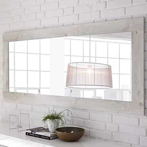 LUBIO Neuf L 170 x l 2 x H 75 Tousmesmeubles Miroir rectangulaire Pin Blanc