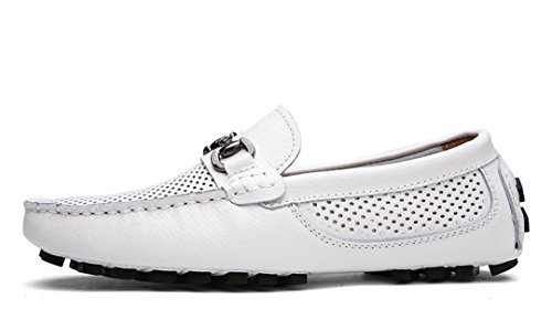 TDA Mens Summer Breathable Perforated Leather Driving Business Loafers Boat Shoes White T8OK6