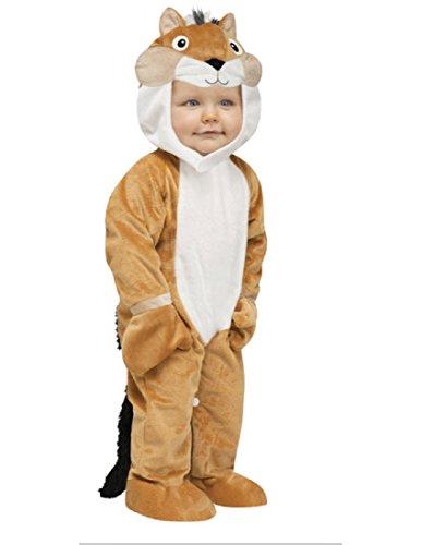 Fun World Costumes Baby's Chipper Chipmunk Toddler Costume, Tan/White/Black, Large