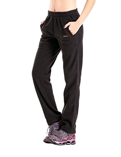 - Clothin Men/Women Polar Fleece Thermal Sweatpants (US S,Black)