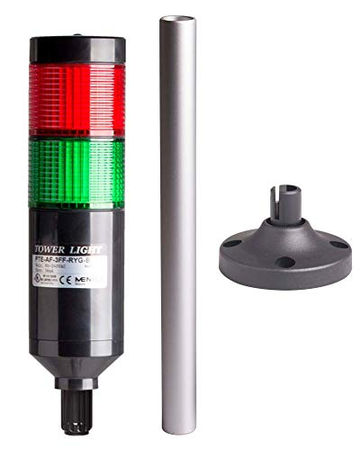 Including 240mm Aluminum Pole PTE-AP-2FF-RG-B Red//Green Lens 2 Stacks Steady Plastic Base 90-240VAC 56mm Modular LED Black Body 25 Lead Wires Tower Light Kit