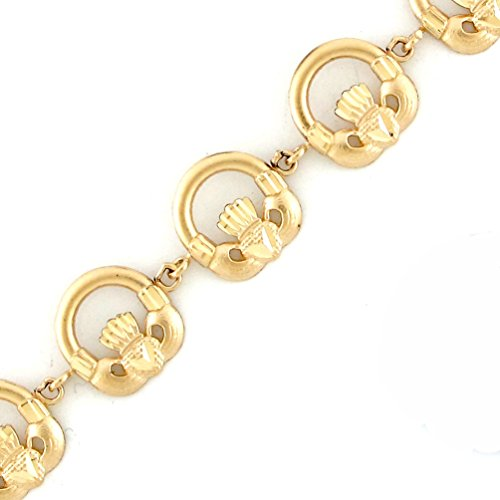 Jewelry Liquidation 10k Yellow Gold Stunning Diamond Cut Friendship Love Claddagh Bracelet ()
