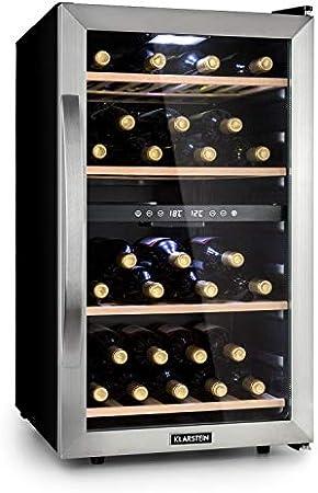 KLARSTEIN Vinamour - Nevera para vinos, Nevera para Bebidas, Refrigerador gastronomía, 2 Zonas, Iluminación LED, Módulo Independiente, Silencioso, Acero INOX, 54 Botellas, 4 Baldas, 118 L, Plateado[Clase de eficiencia energética G]