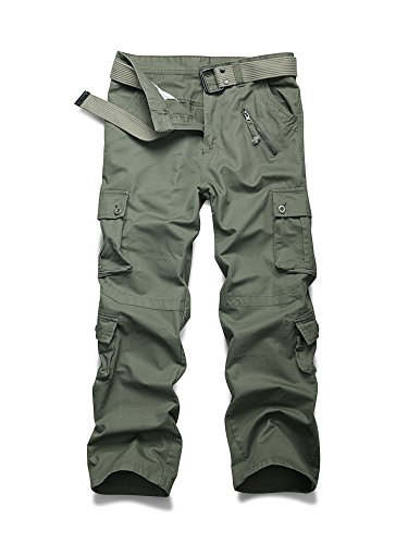 Men's Casual Military Pants, Cotton Camo Tactical Wild Combat Cargo Trousers with 8 Pockets Grass Army Green Tag 38-US 36