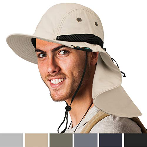 SUN CUBE Fishing Sun Hat for Men with Neck Cover Flap, Wide Brim Bill Shade, Adjustable Fit Chin Strap for Outdoor, Hiking, Safari, Hunting | Summer UPF 50+, Breathable Mesh| Packable Cap (Tan)