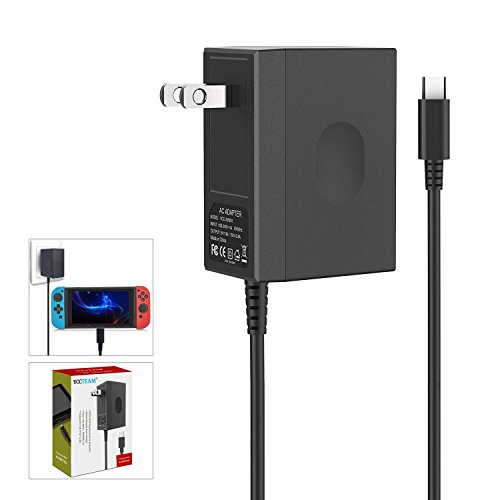 Charger for Nintendo Switch,AC adapter for Nintendo Switch - Fast Travel Wall Charger with 5FT USB Type C Cable 15V/2.6A Power Supply for Nintendo Switch Supports TV Mode and Dock Station