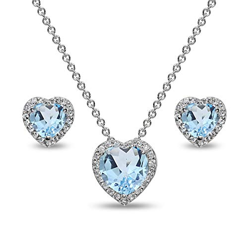(Sterling Silver Blue Topaz and CZ Halo Heart Pendant Necklace & Stud Earrings Set)