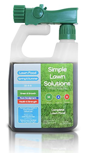 Advanced 16-4-8 Balanced NPK- Lawn Food Natural Liquid Fertilizer- Spring & Summer Concentrated Spray - Any Grass Type- Simple Lawn Solutions, 32-Ounce- Green, Grow, Root Growth, Health & (16 Aerator)