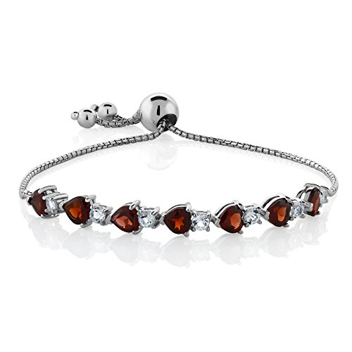 Gem Stone King 925 Sterling Silver Heart Shape Red Garnet Gemstone Birthstone Adjustable Tennis Bracelet (4.62 Cttw)