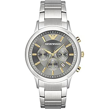 Emporio Armani Mens Quartz Stainless Steel Casual Watch, Color:Silver-Toned (Model: AR11047)